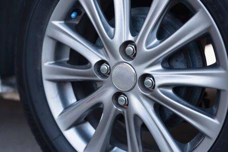 close up wheels white car, transportation concept