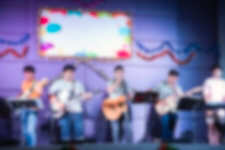 blur picture, Musician band showing at the party night concert