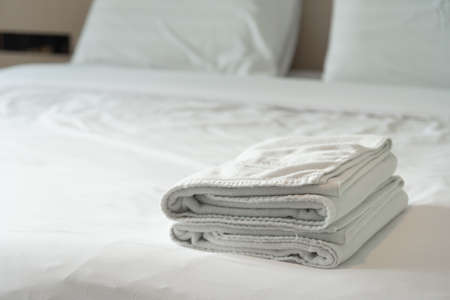 towels put on the white in the modern hotel Stock Photo