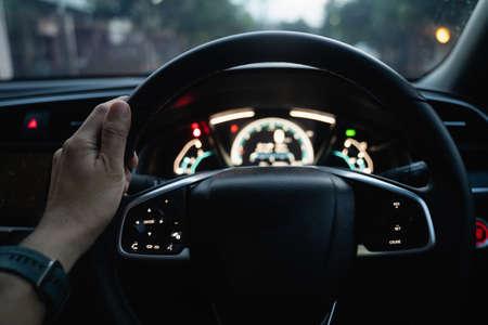 interior the car, steering wheel at night