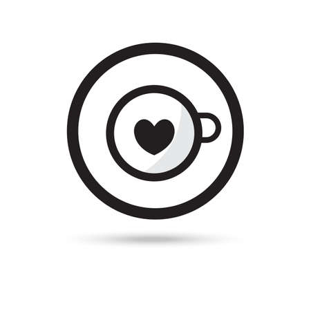 cup of coffee latte art heart shape icon on white background Vettoriali