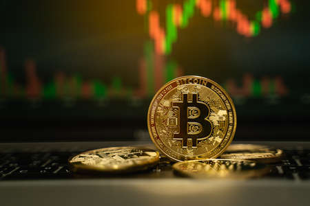 Bitcoin gold coin and defocused chart background, cryptocurrency concept
