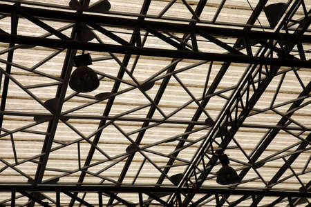 Silhouette photo of metal structure on the roof which shows beautiful pattern of row and branches of abstract art with clear ceiling shows urban lifestyle for decorating in building.