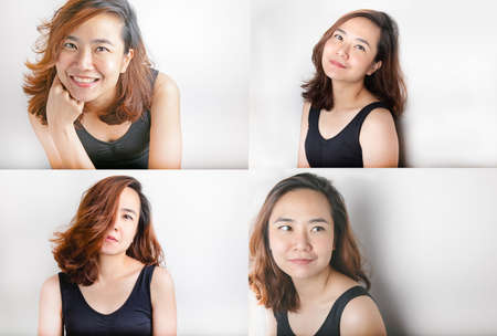 Photo sets of Close up face of beautiful asian woman model with about 30 years old on black vest shows freshness and lively from her bright eyes, white teeth and tan color skin on white background.