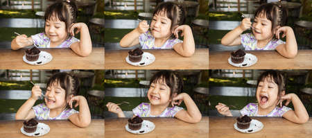 Sets or groips of photo of asian girl, about 3 years old, with cute and smilling face, is eating a chocolate cup cake as a delicious snack, and it makes the people who saw it smile happily.