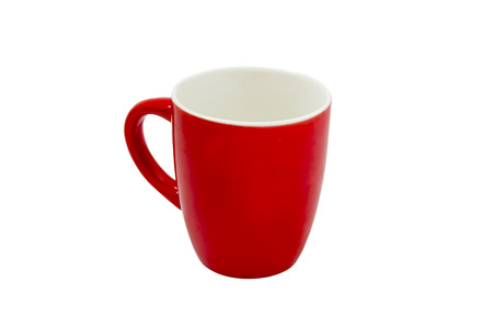 disinfect: Red ceramic cup, delicate cup, drinking water, rest Stock Photo
