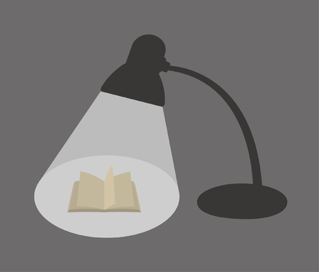 Reading and studying under the desk lamp at night Иллюстрация
