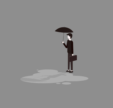 A man holds a briefcase with an umbrella. Çizim