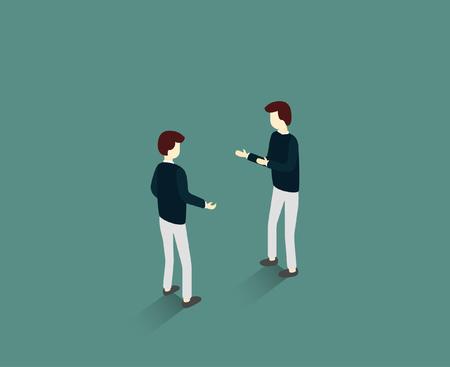 Zwei Personen verhandeln über Austausch und Zusammenarbeit