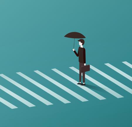 Businessman crossing the road zebra line Stock Vector - 104767812