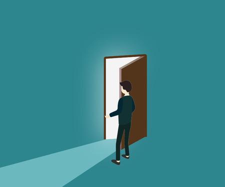 Man opens the door, explore,  light comes in Reklamní fotografie - 104768000