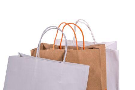 Shopping paper bag on white background Foto de archivo