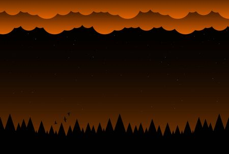 Halloween night background with clouds and dark forest 스톡 콘텐츠