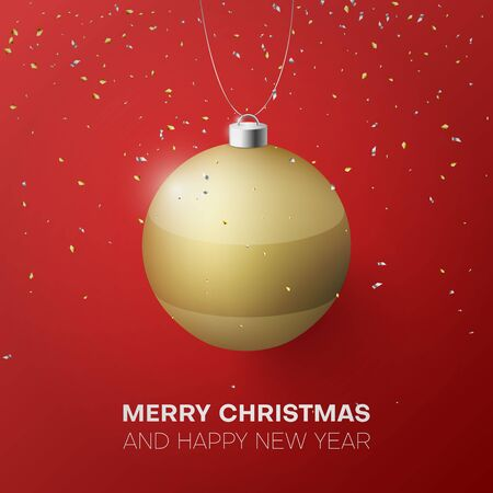 Golden Christmas ball on a red background
