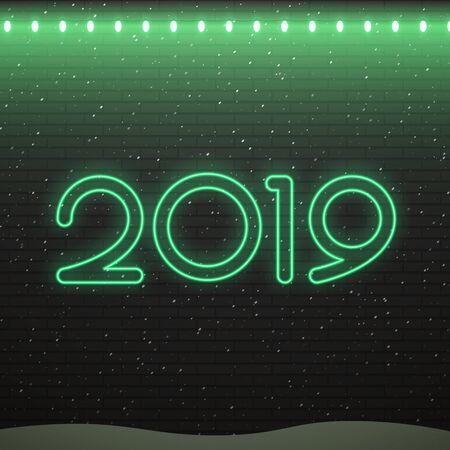 Neon sign of 2019 logo for decoration on the brick wall background. Concept of Merry Christmas and Happy New Year.