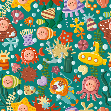Cute sea pattern Vector