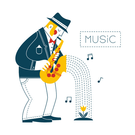 Man playing the saxophone Vector
