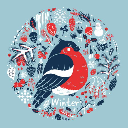 merry chrismas: Winter medallion with a cute bullfinch Illustration
