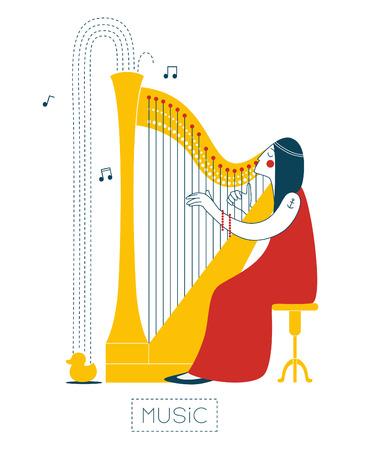 harp: Woman playing the harp Illustration