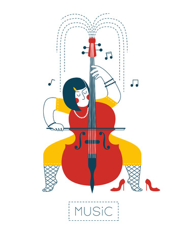 stockings and heels: Woman playing the cello Illustration