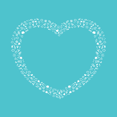 Cute heart of white contour elements Vector