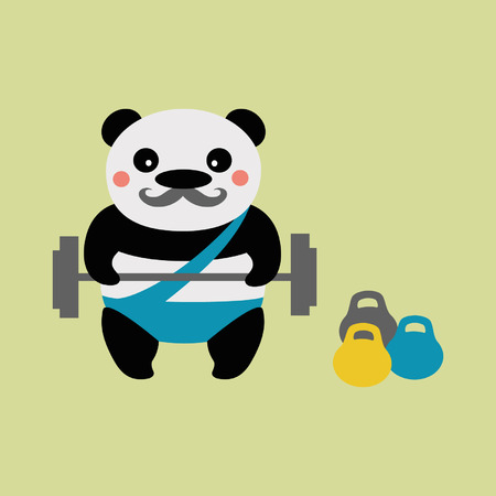 mustached: Panda weightlifter