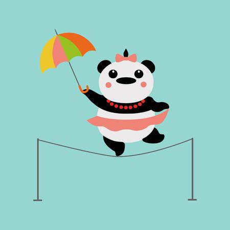 Panda acrobat with umbrella 向量圖像