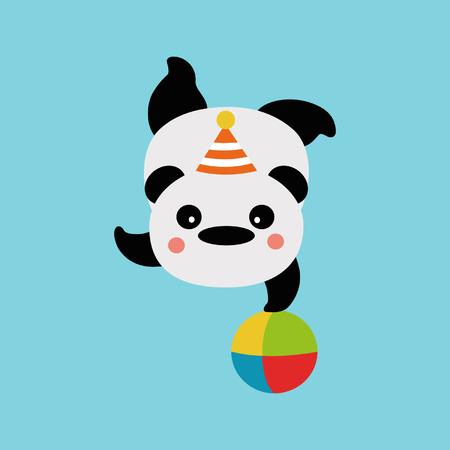 panda on the ball Vector