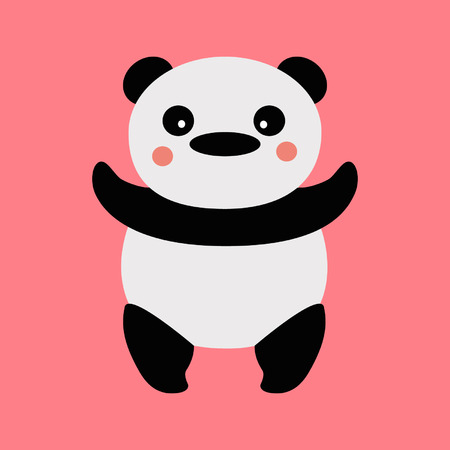 Panda on a pink background Vector