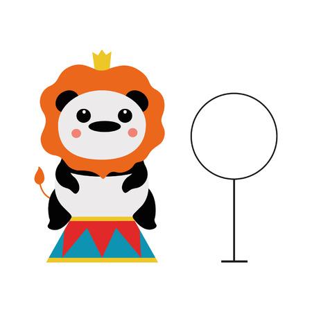cirque: Panda in costume lion Illustration