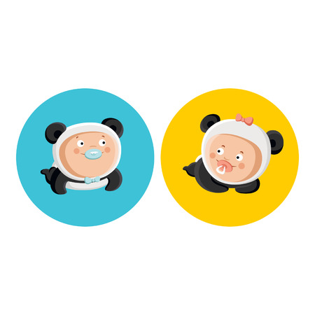 Babies in panda costume Vector