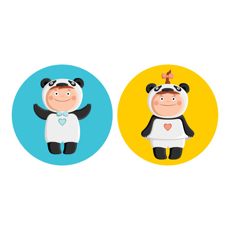 Children in costumes pandas Vector