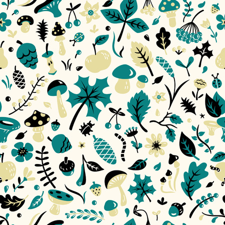 grebe: Seamless autumn pattern Illustration