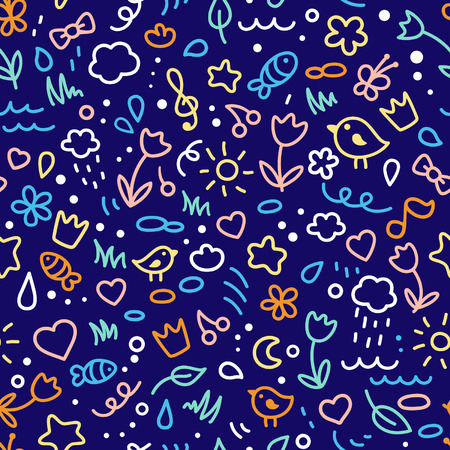 Seamless colored cute pattern Vector