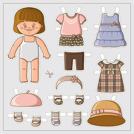 Dress up cute paper doll with body template Vettoriali