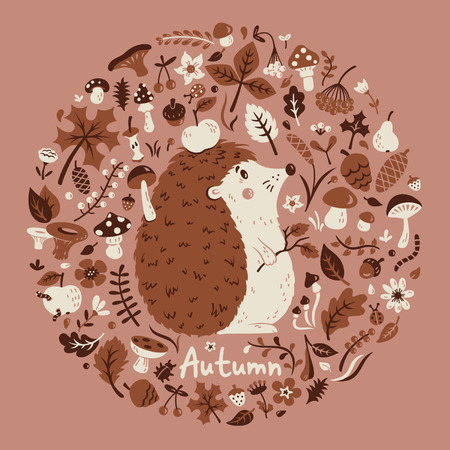 grebe: Autumn medallion with a cute hedgehog Illustration