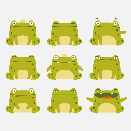 surprise face: Emotional cute frogs  Cartoon character  Illustration