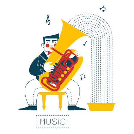 Tuba player Vector