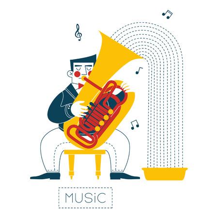Tuba player Ilustração