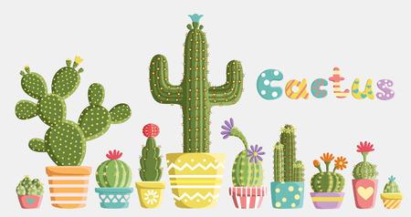 Conjunto de cactus en macetas de diferentes formas y colores Vectores