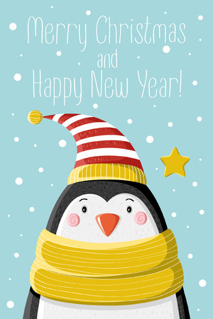 pompon: Cute penguin in striped cap under the snow