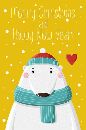oso blanco: Oso blanco lindo en gorra tejida bajo la nieve