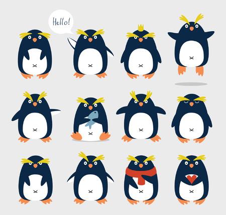 Set of emotional cute crested penguins