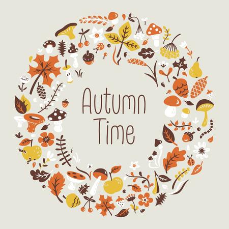 Autumn wreath with mushrooms, leaves, flowers, berries, pine cones. 向量圖像