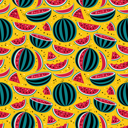 jule: Seamless pattern with watermelons on yellow background