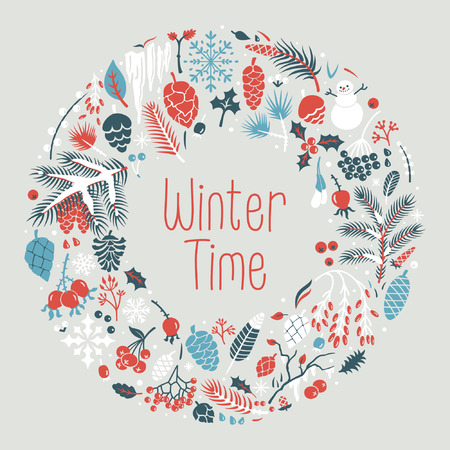 pine decoration: Winter wreath with snow, cones, berries, pine branches, leafs. Illustration
