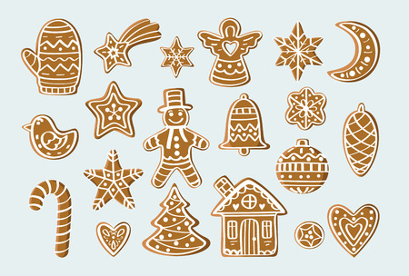 Set with gingerbread figures. For postcards, backgrounds, prints