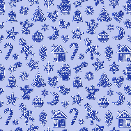 Seamless pattern with blue figures