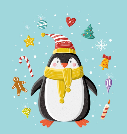 Cute penguin in striped knitted cap with Christmas toy under the snow. Picture for prints, Christmas cards, decoration, covers, poster. Vector