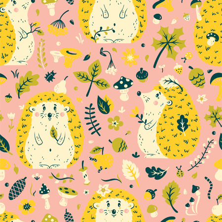 Seamless pattern with a cute hedgehog among the leaves, cones, berries, flowers and mushrooms. Vector illustration for textiles, cards, decorations, wallpaper